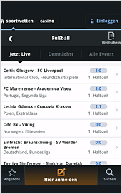 Betway App Quotenansicht