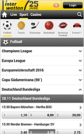 Interwetten App Quotenansicht