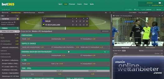 Bet365 Live Wetten mit Streaming