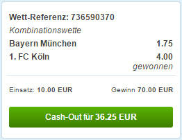 Cash Out Funktion bei Sportingbet