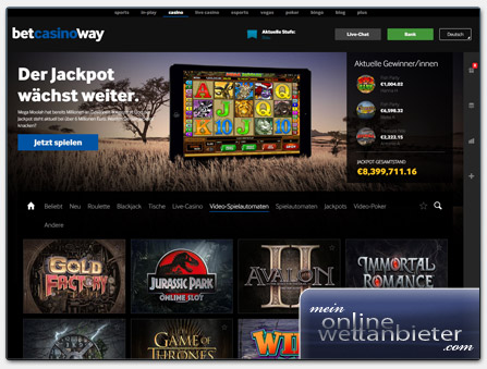 Betway Casino Webseite